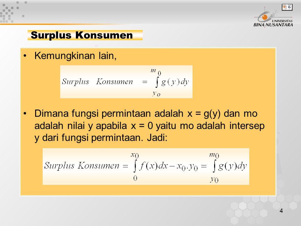 4 Surplus Konsumen Kemungkinan lain, Dimana fungsi permintaan adalah x = g(y) dan mo adalah nilai y apabila x = 0 yaitu mo adalah intersep y dari fung