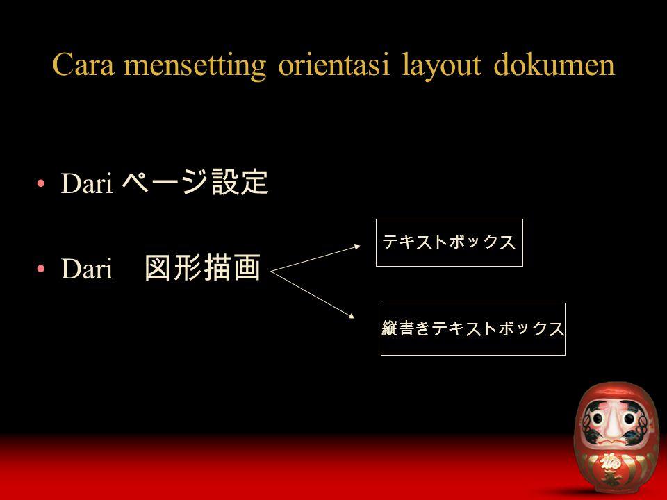 Cara mensetting orientasi layout dokumen Dari ページ設定 Dari 図形描画 テキストボックス 縦書きテキストボックス