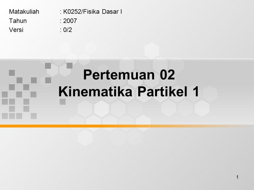 1 Pertemuan 02 Kinematika Partikel 1 Matakuliah: K0252/Fisika Dasar I Tahun: 2007 Versi: 0/2