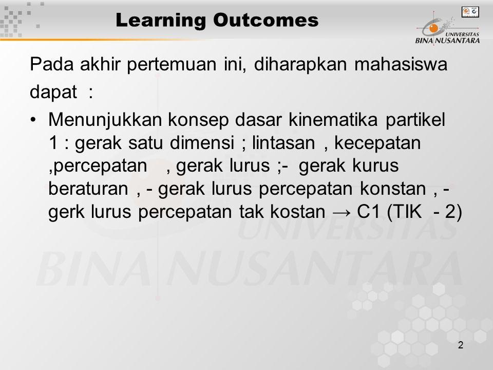 2 Learning Outcomes Pada akhir pertemuan ini, diharapkan mahasiswa dapat : Menunjukkan konsep dasar kinematika partikel 1 : gerak satu dimensi ; lintasan, kecepatan,percepatan, gerak lurus ;- gerak kurus beraturan, - gerak lurus percepatan konstan, - gerk lurus percepatan tak kostan → C1 (TIK - 2)