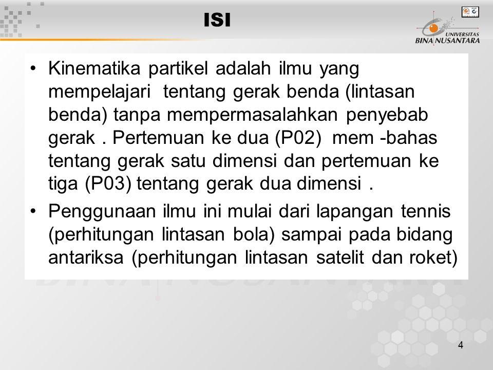 4 ISI Kinematika partikel adalah ilmu yang mempelajari.tentang gerak benda (lintasan benda) tanpa mempermasalahkan penyebab gerak.