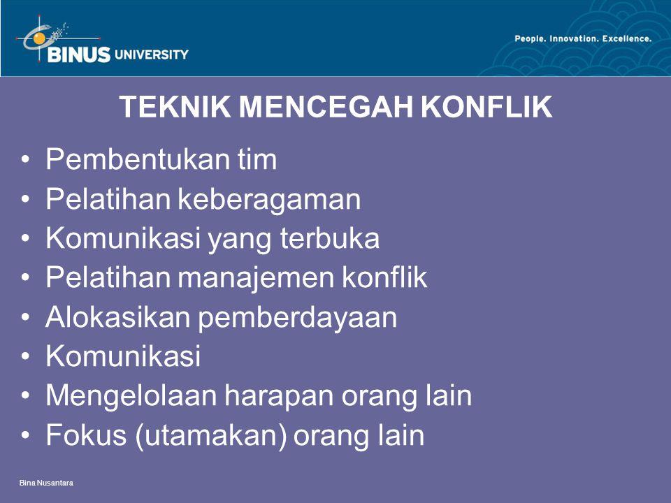 Bina Nusantara TEKNIK MENCEGAH KONFLIK Pembentukan tim Pelatihan keberagaman Komunikasi yang terbuka Pelatihan manajemen konflik Alokasikan pemberdayaan Komunikasi Mengelolaan harapan orang lain Fokus (utamakan) orang lain