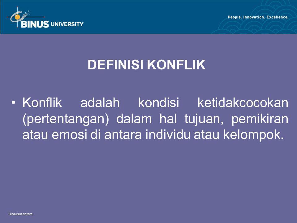 Bina Nusantara DEFINISI KONFLIK Konflik adalah kondisi ketidakcocokan (pertentangan) dalam hal tujuan, pemikiran atau emosi di antara individu atau kelompok.