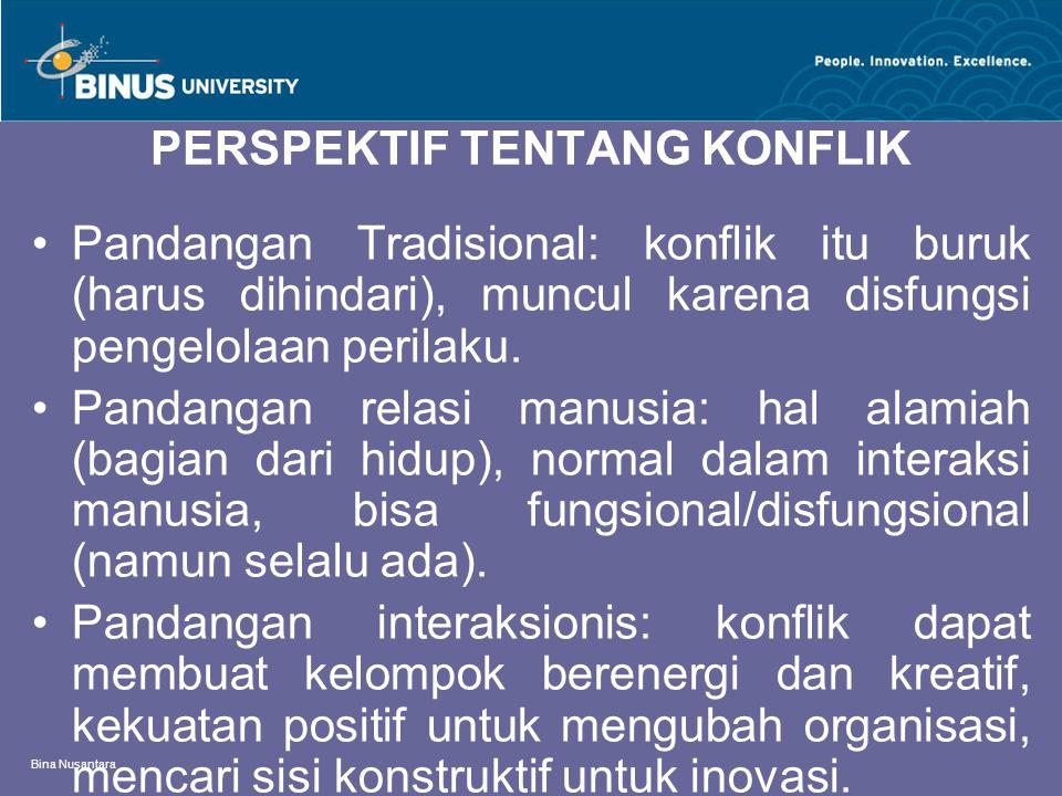Bina Nusantara PERSPEKTIF TENTANG KONFLIK Pandangan Tradisional: konflik itu buruk (harus dihindari), muncul karena disfungsi pengelolaan perilaku. Pa