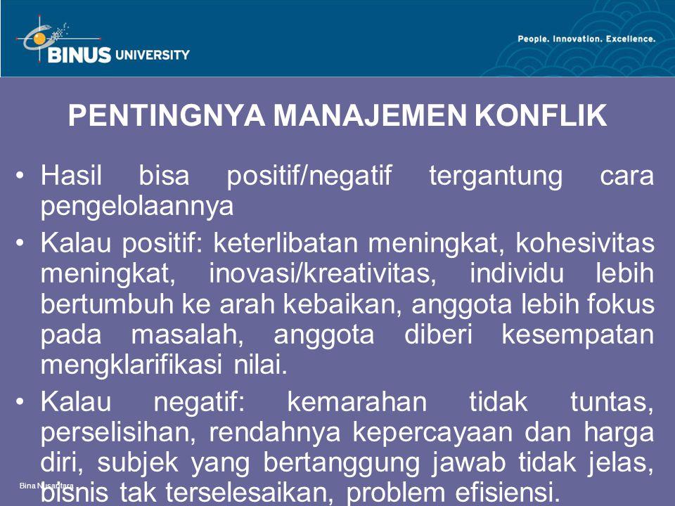Bina Nusantara PENTINGNYA MANAJEMEN KONFLIK Hasil bisa positif/negatif tergantung cara pengelolaannya Kalau positif: keterlibatan meningkat, kohesivit