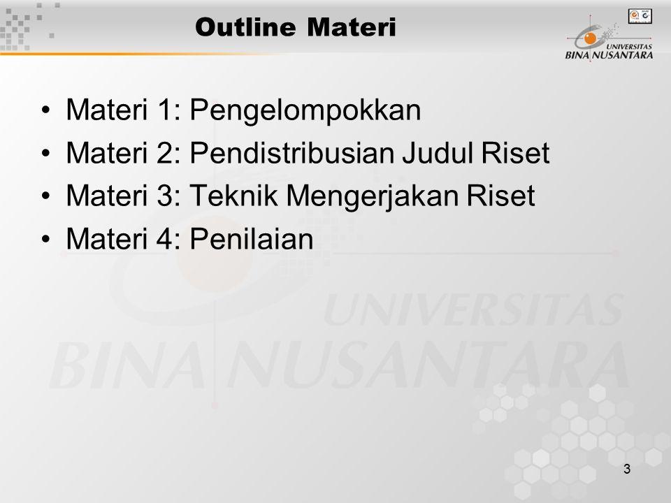 3 Outline Materi Materi 1: Pengelompokkan Materi 2: Pendistribusian Judul Riset Materi 3: Teknik Mengerjakan Riset Materi 4: Penilaian