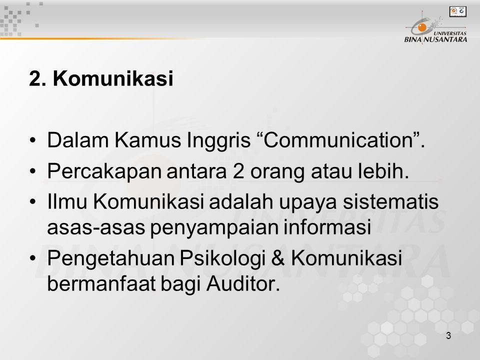 "3 2. Komunikasi Dalam Kamus Inggris ""Communication"". Percakapan antara 2 orang atau lebih. Ilmu Komunikasi adalah upaya sistematis asas-asas penyampai"
