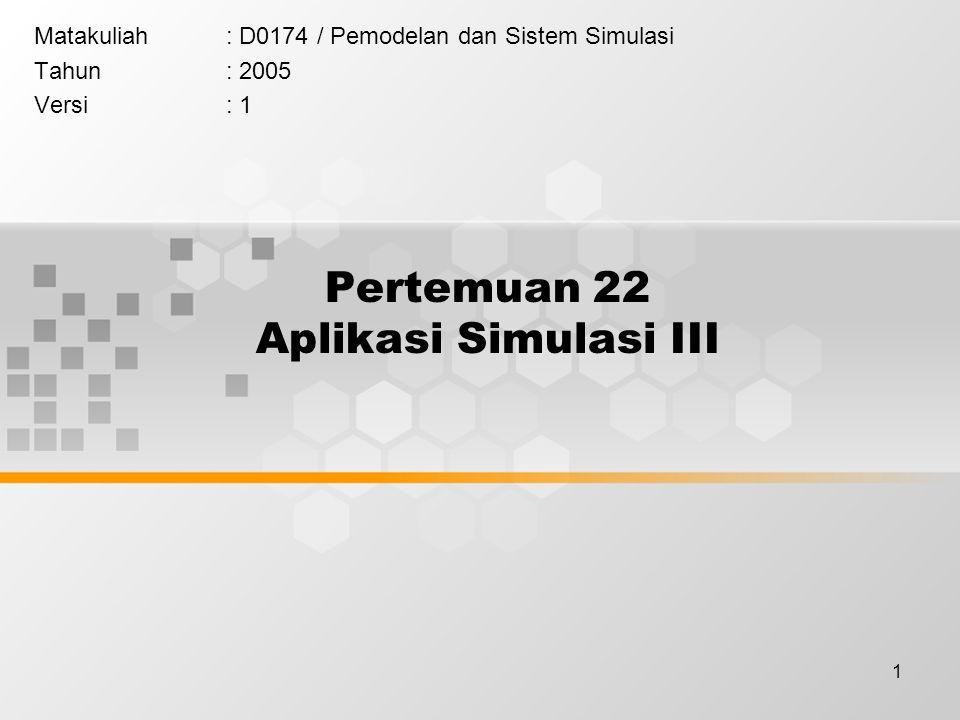1 Pertemuan 22 Aplikasi Simulasi III Matakuliah: D0174 / Pemodelan dan Sistem Simulasi Tahun: 2005 Versi: 1