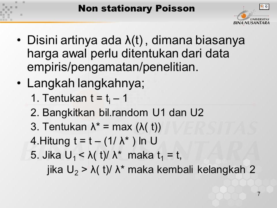 8 Contoh non stationary Poisson Kedatanga pelanggan seperti pada distribusi empiris berikut jam Jumlah datang Jam Jumlah datang 10.00 2 13.00 6 11.00 4 14.00 8 12.00 5 15.00 4 Simulasikan kedatangan antara jam 11 s/d jam 12.