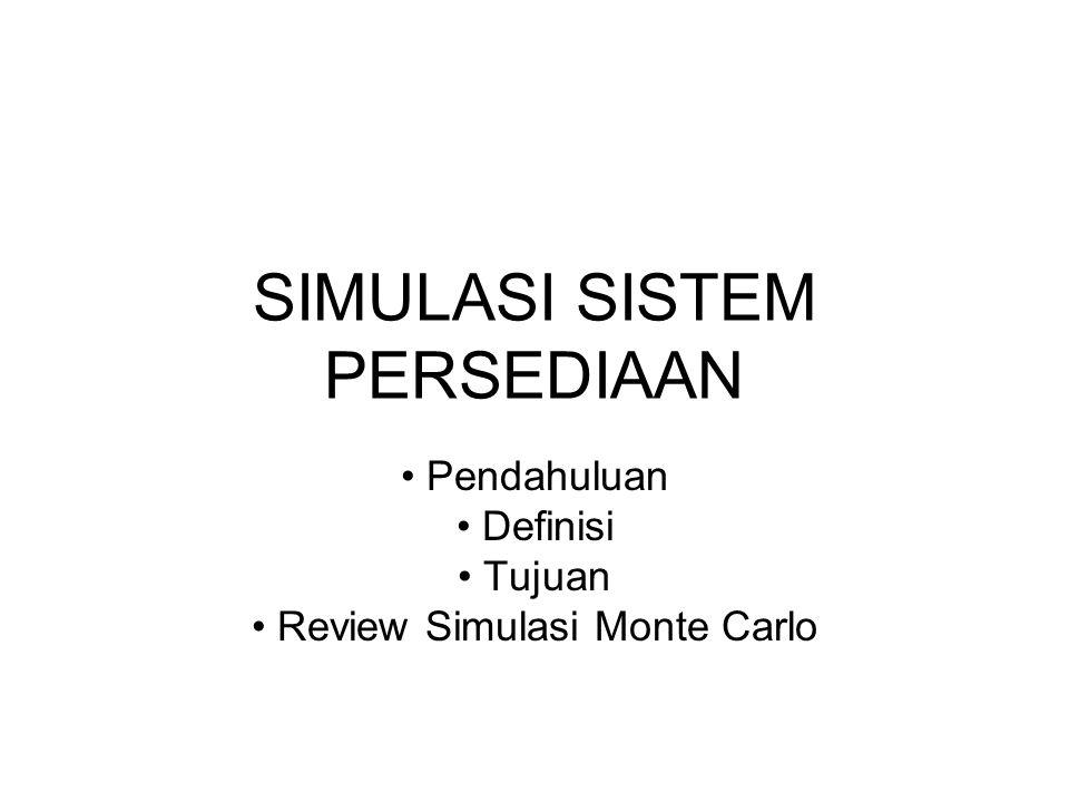SIMULASI SISTEM PERSEDIAAN Pendahuluan Definisi Tujuan Review Simulasi Monte Carlo