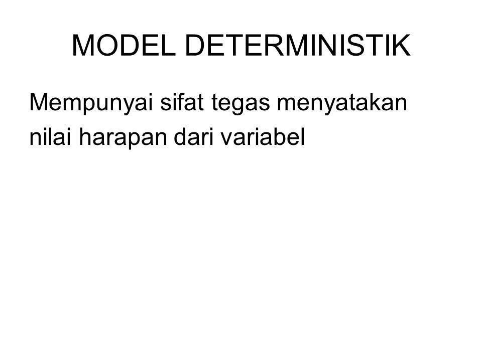 MODEL DETERMINISTIK Mempunyai sifat tegas menyatakan nilai harapan dari variabel