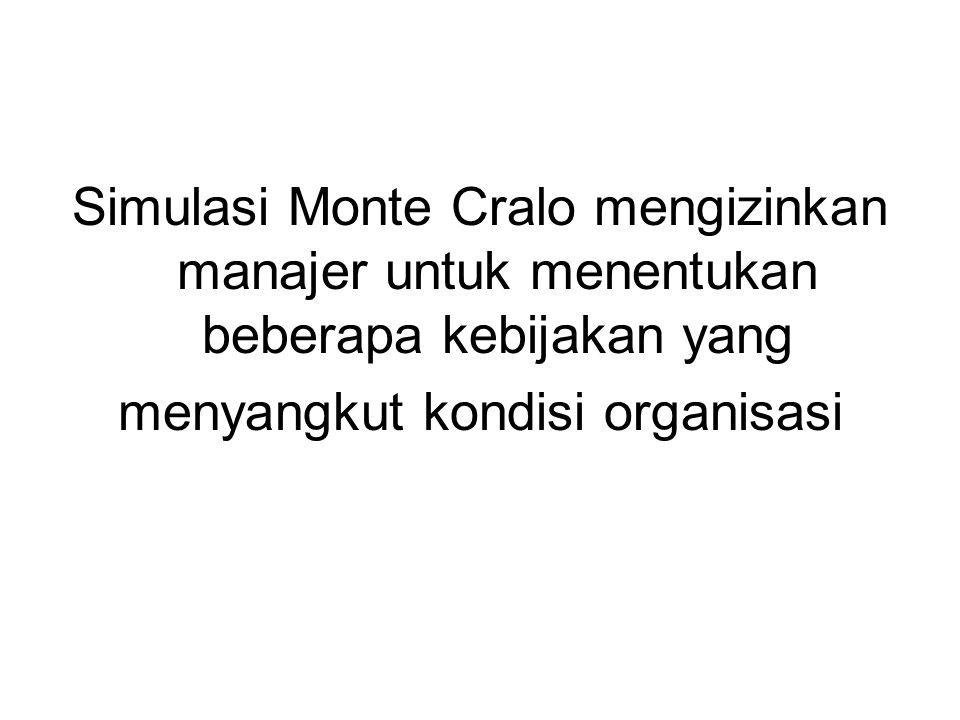 Simulasi Monte Cralo mengizinkan manajer untuk menentukan beberapa kebijakan yang menyangkut kondisi organisasi