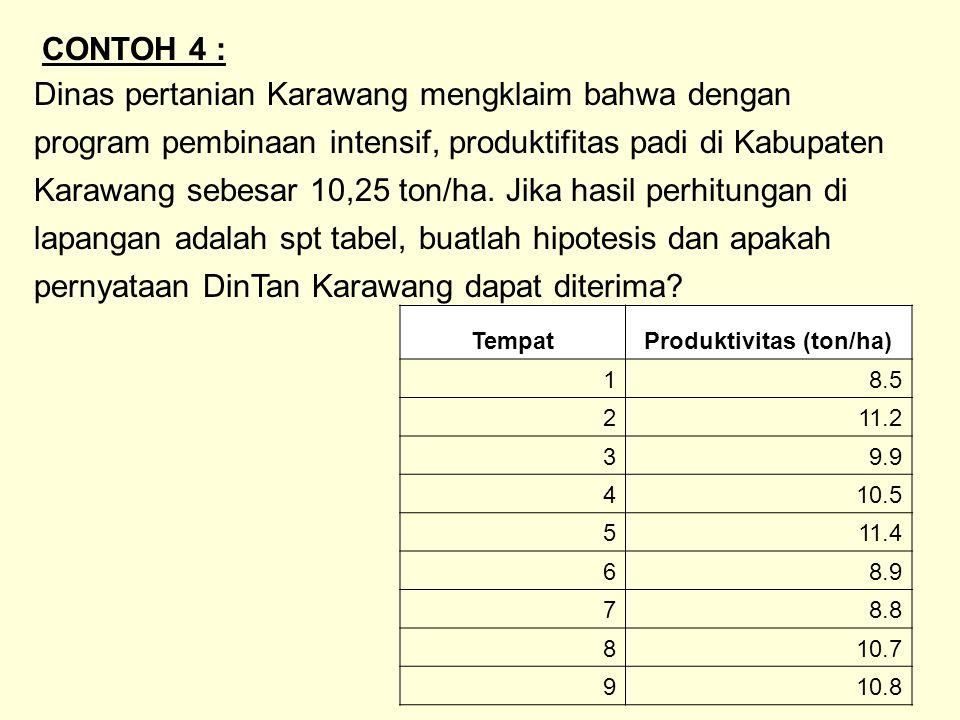 Dinas pertanian Karawang mengklaim bahwa dengan program pembinaan intensif, produktifitas padi di Kabupaten Karawang sebesar 10,25 ton/ha. Jika hasil