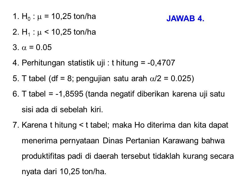 1.H 0 :  = 10,25 ton/ha 2.H 1 :  < 10,25 ton/ha 3.  = 0.05 4.Perhitungan statistik uji : t hitung = -0,4707 5.T tabel (df = 8; pengujian satu arah