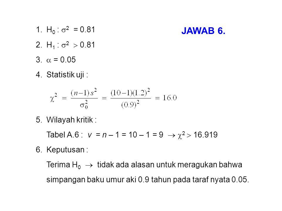 1.H 0 :  2 = 0.81 2.H 1 :  2  0.81 3.  = 0.05 4.Statistik uji : 5.Wilayah kritik : Tabel A.6 : v = n – 1 = 10 – 1 = 9   2  16.919 6.Keputusan :