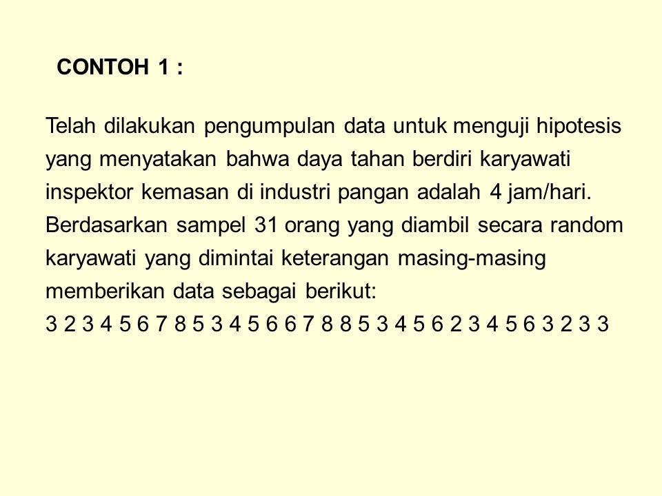 1.N= 31 :  o = 4 jam/hari 2.H 0 :  = 4 jam 3.H 1 :   4 jam 4.