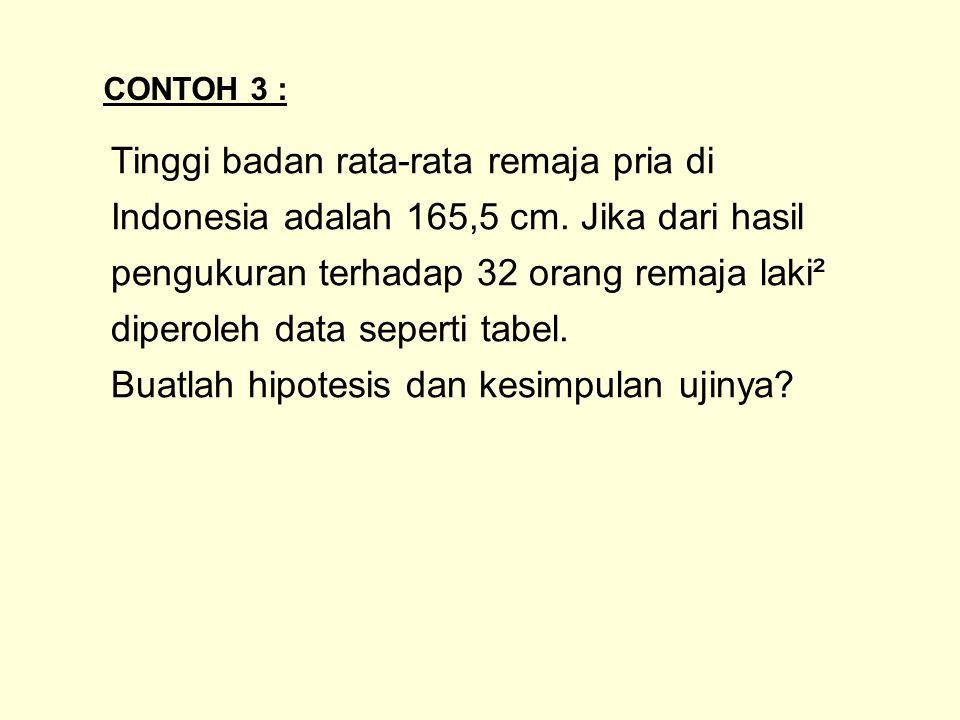 Tinggi badan rata-rata remaja pria di Indonesia adalah 165,5 cm. Jika dari hasil pengukuran terhadap 32 orang remaja laki² diperoleh data seperti tabe