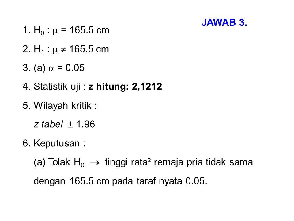 1.H 0 :  = 165.5 cm 2.H 1 :   165.5 cm 3.(a)  = 0.05 4.Statistik uji : z hitung: 2,1212 5.Wilayah kritik : z tabel  1.96 6.Keputusan : (a) Tolak