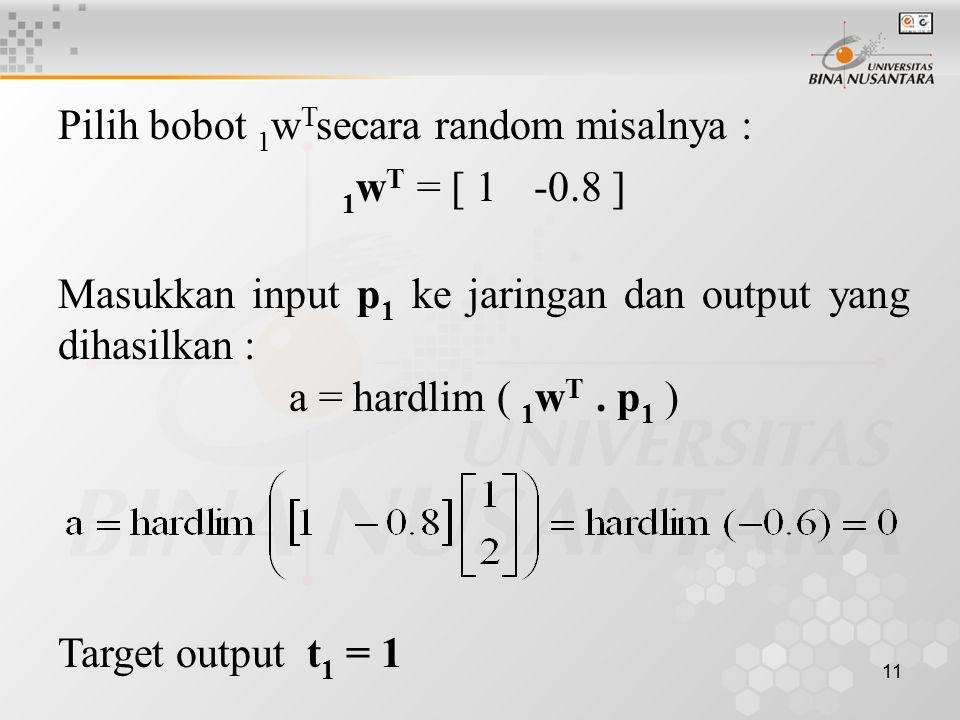 11 Pilih bobot 1 w T secara random misalnya : 1 w T = [ 1-0.8 ] Masukkan input p 1 ke jaringan dan output yang dihasilkan : a = hardlim ( 1 w T. p 1 )