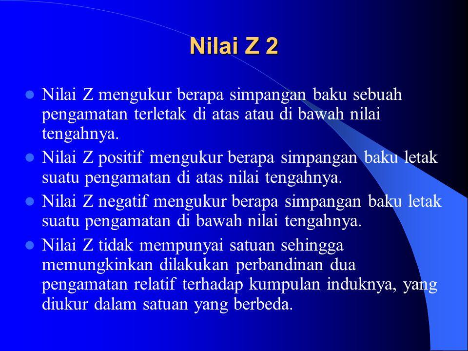 Nilai Z 2 Nilai Z mengukur berapa simpangan baku sebuah pengamatan terletak di atas atau di bawah nilai tengahnya.