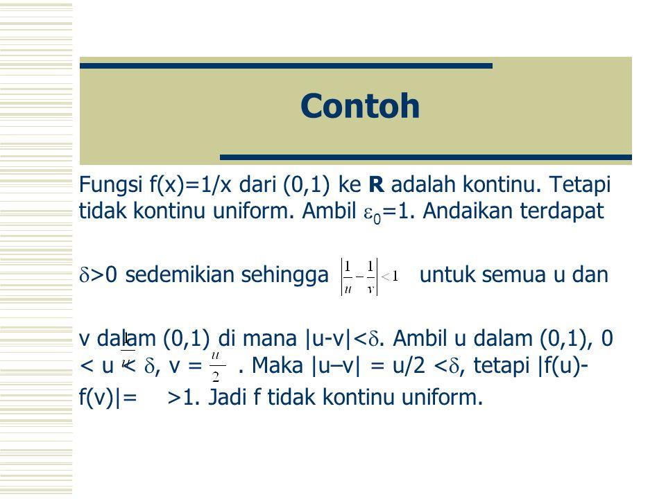 Contoh Fungsi f(x)=1/x dari (0,1) ke R adalah kontinu.