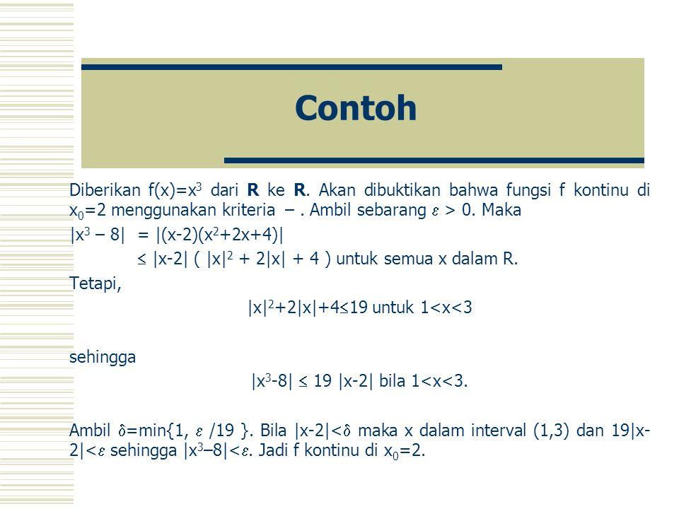 Contoh Diberikan f(x)=x 3 dari R ke R.