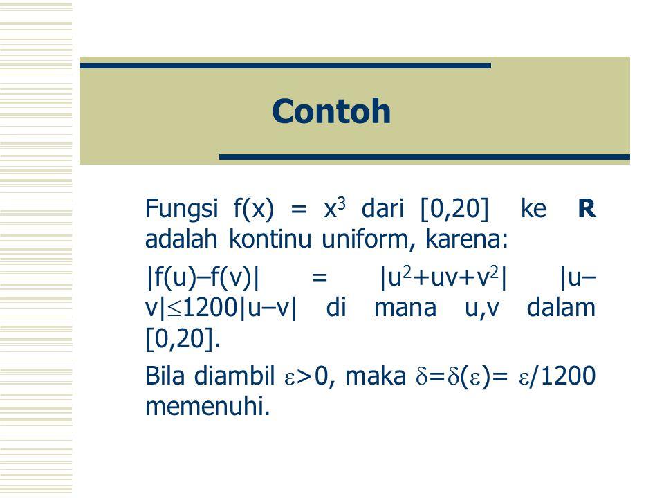 Contoh Fungsi f(x) = x 3 dari [0,20] ke R adalah kontinu uniform, karena:  f(u)–f(v)  =  u 2 +uv+v 2    u– v   1200 u–v  di mana u,v dalam [0,20].