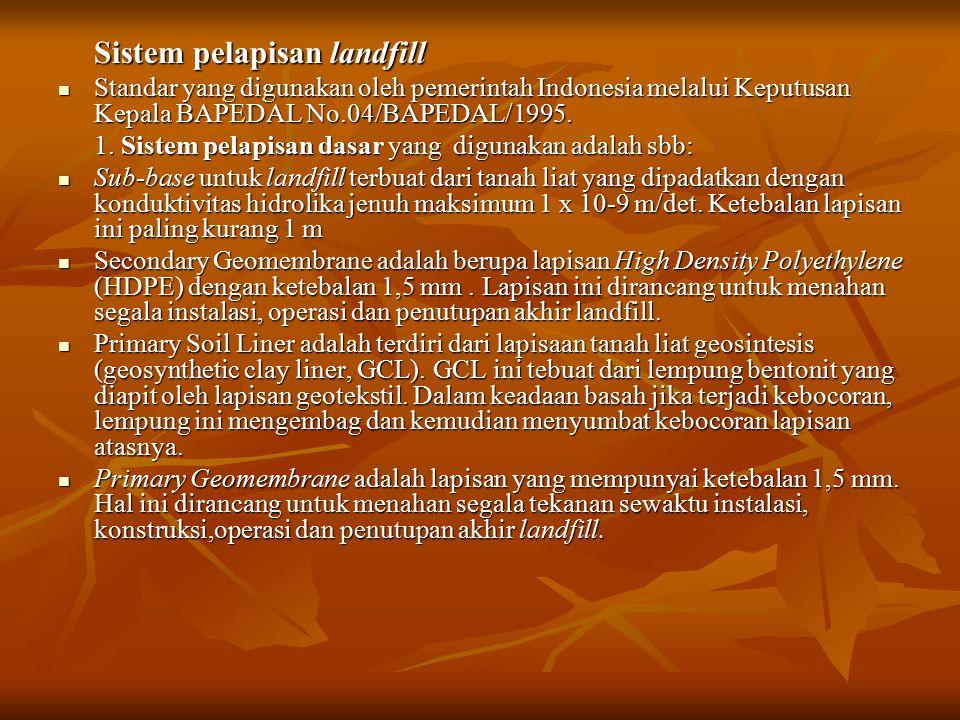 Sistem pelapisan landfill Standar yang digunakan oleh pemerintah Indonesia melalui Keputusan Kepala BAPEDAL No.04/BAPEDAL/1995. Standar yang digunakan
