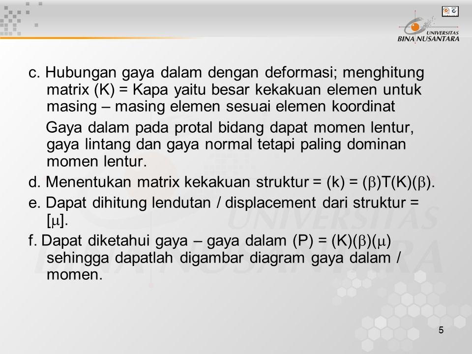 5 c. Hubungan gaya dalam dengan deformasi; menghitung matrix (K) = Kapa yaitu besar kekakuan elemen untuk masing – masing elemen sesuai elemen koordin