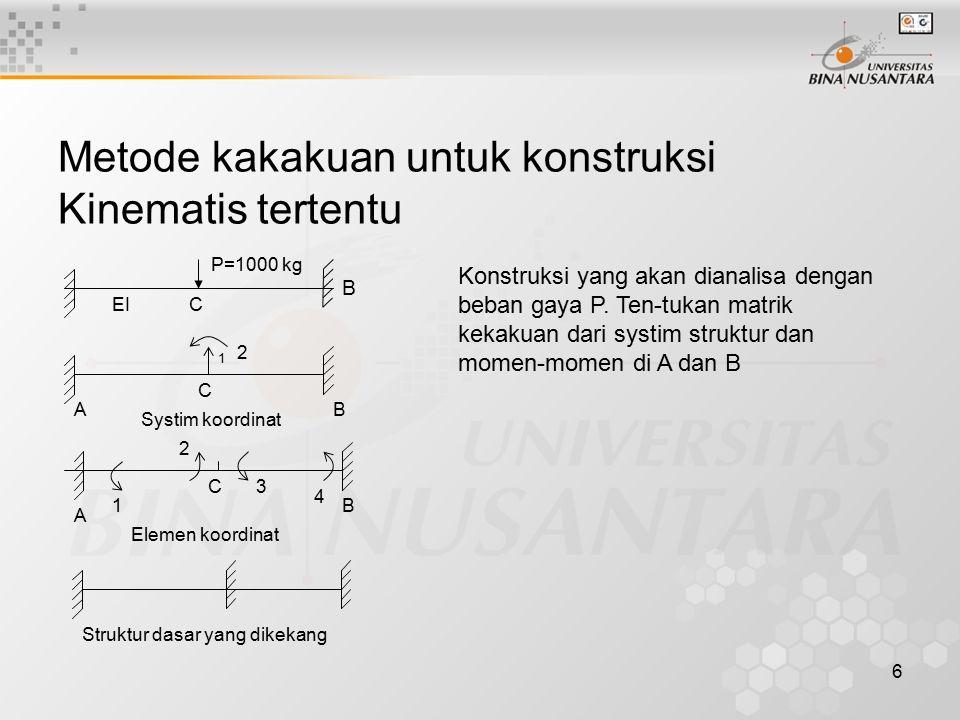 6 Metode kakakuan untuk konstruksi Kinematis tertentu P=1000 kg C B EI Konstruksi yang akan dianalisa dengan beban gaya P. Ten-tukan matrik kekakuan d