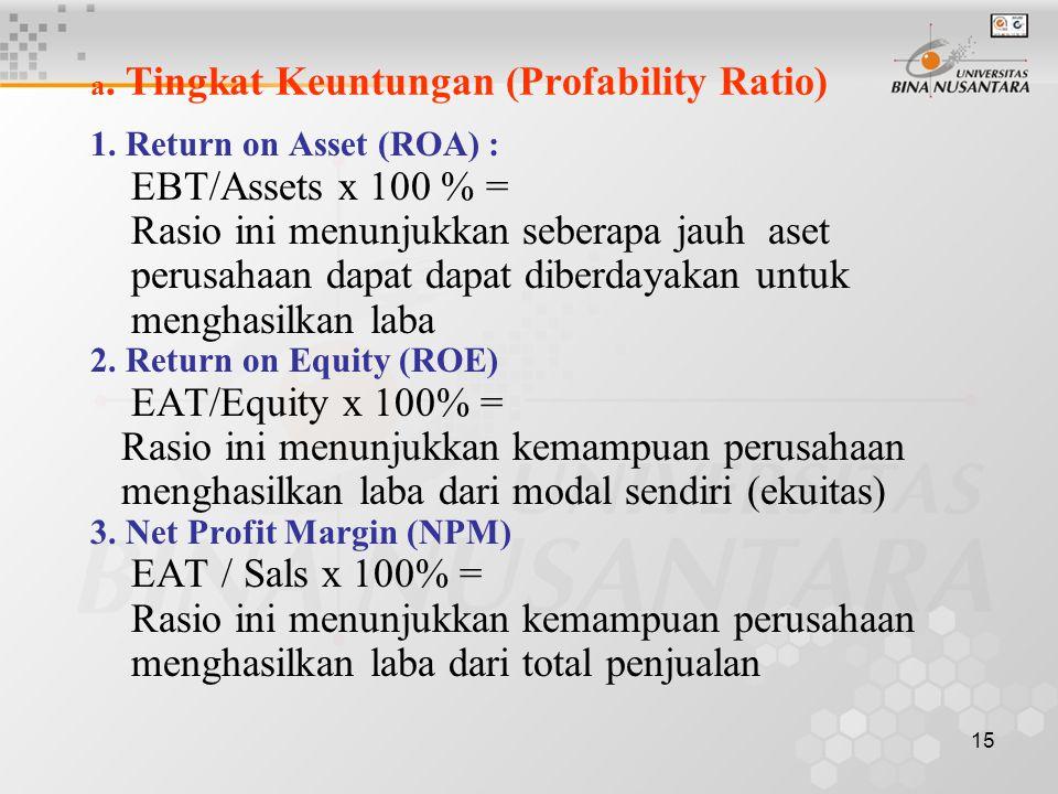 14 Analisa Laporan Keuangan & Analisa Rasio Dari Analisa Laporan Keuangan dan Analisa Rasio akan diketahui tentang kondisi perusahaan sbb. : a. Tingka