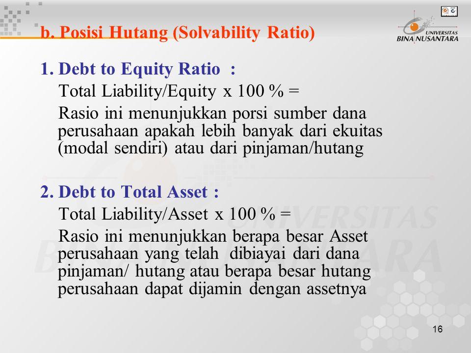 15 a. Tingkat Keuntungan (Profability Ratio) 1. Return on Asset (ROA) : EBT/Assets x 100 % = Rasio ini menunjukkan seberapa jauh aset perusahaan dapat