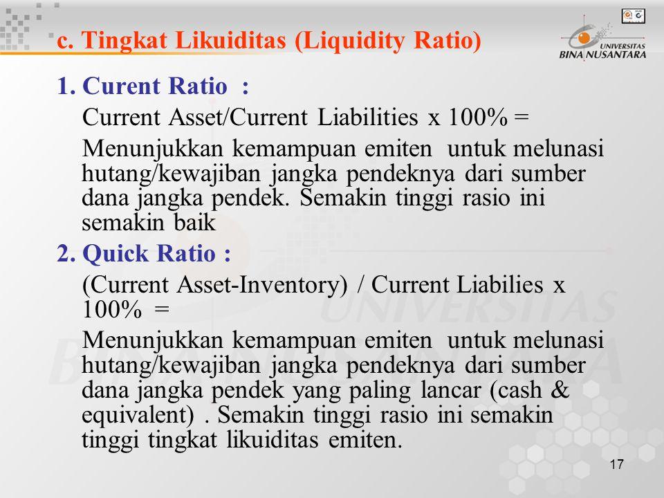 16 b. Posisi Hutang (Solvability Ratio) 1. Debt to Equity Ratio : Total Liability/Equity x 100 % = Rasio ini menunjukkan porsi sumber dana perusahaan