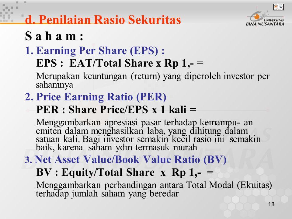 17 c. Tingkat Likuiditas (Liquidity Ratio) 1. Curent Ratio : Current Asset/Current Liabilities x 100% = Menunjukkan kemampuan emiten untuk melunasi hu