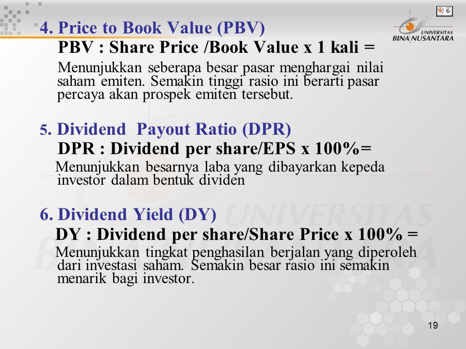 18 d. Penilaian Rasio Sekuritas S a h a m : 1. Earning Per Share (EPS) : EPS : EAT/Total Share x Rp 1,- = Merupakan keuntungan (return) yang diperoleh