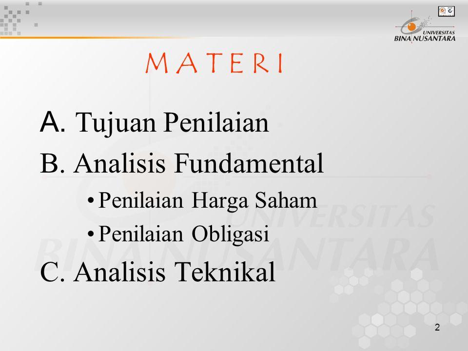 1 PENILAIAN SEKURITAS Pertemuan ke-09 Matakuliah: F0322/Pengantar Pasar Modal Tahun: 2 0 0 5