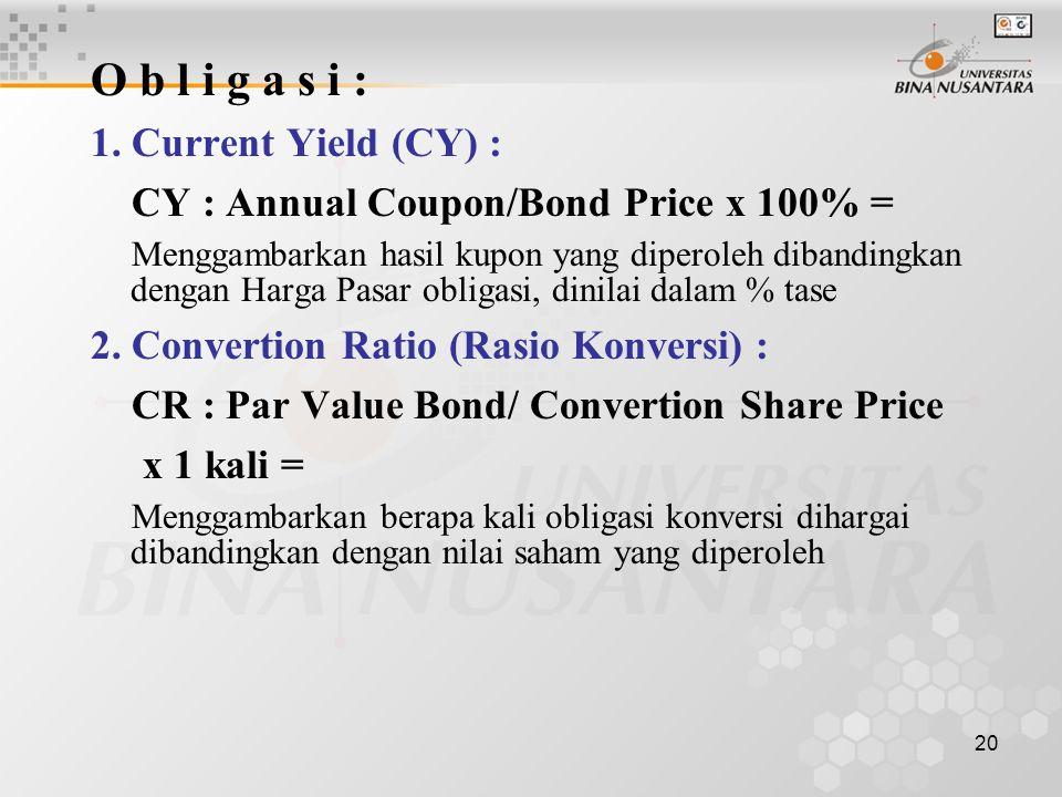 19 4. Price to Book Value (PBV) PBV : Share Price /Book Value x 1 kali = Menunjukkan seberapa besar pasar menghargai nilai saham emiten. Semakin tingg