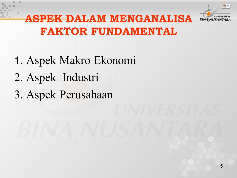 4 ANALISA FUNDAMENTAL Yaitu penelitian dalam bentuk fundamental/ basic dalam menentukan nilai sekuritas Menganalisa faktor-faktor ekonomi yang mempe-