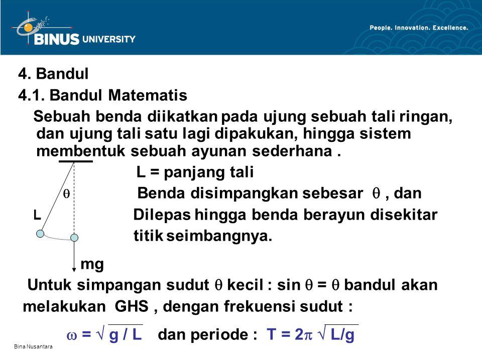 Bina Nusantara 4. Bandul 4.1. Bandul Matematis Sebuah benda diikatkan pada ujung sebuah tali ringan, dan ujung tali satu lagi dipakukan, hingga sistem