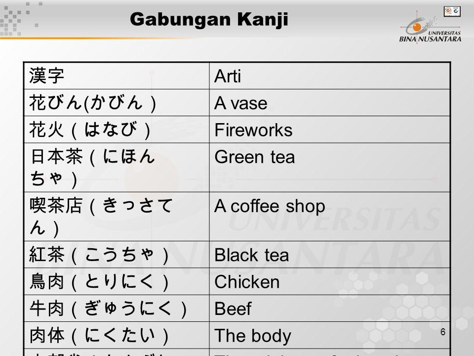 6 Gabungan Kanji 漢字 Arti 花びん ( かびん) A vase 花火(はなび) Fireworks 日本茶(にほん ちゃ) Green tea 喫茶店(きっさて ん) A coffee shop 紅茶(こうちゃ) Black tea 鳥肉(とりにく) Chicken 牛肉(ぎゅうにく) Beef 肉体(にくたい) The body 文部省(もんぶしょ う) The ministry of education