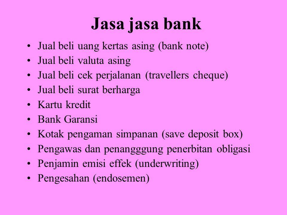 Jasa jasa bank Jual beli uang kertas asing (bank note) Jual beli valuta asing Jual beli cek perjalanan (travellers cheque) Jual beli surat berharga Ka