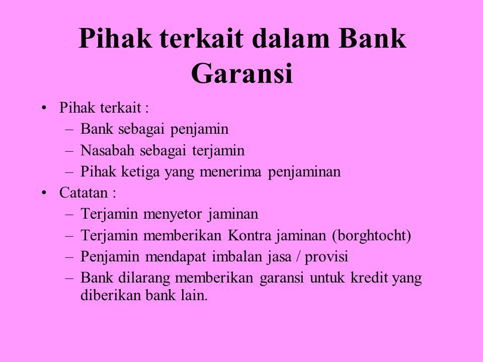 Pihak terkait dalam Bank Garansi Pihak terkait : –Bank sebagai penjamin –Nasabah sebagai terjamin –Pihak ketiga yang menerima penjaminan Catatan : –Te