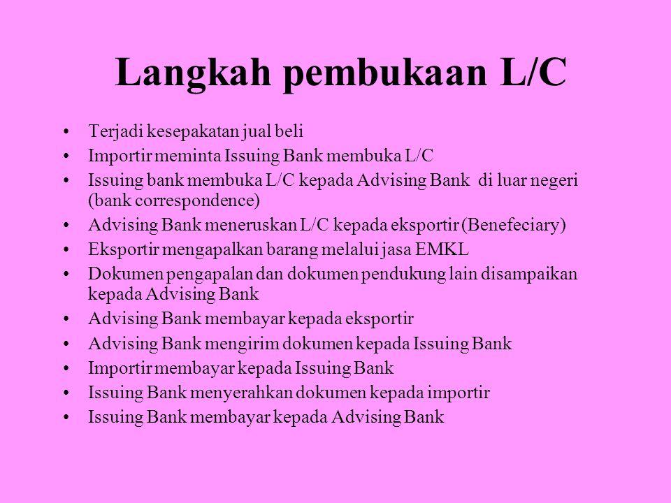 Langkah pembukaan L/C Terjadi kesepakatan jual beli Importir meminta Issuing Bank membuka L/C Issuing bank membuka L/C kepada Advising Bank di luar negeri (bank correspondence) Advising Bank meneruskan L/C kepada eksportir (Benefeciary) Eksportir mengapalkan barang melalui jasa EMKL Dokumen pengapalan dan dokumen pendukung lain disampaikan kepada Advising Bank Advising Bank membayar kepada eksportir Advising Bank mengirim dokumen kepada Issuing Bank Importir membayar kepada Issuing Bank Issuing Bank menyerahkan dokumen kepada importir Issuing Bank membayar kepada Advising Bank