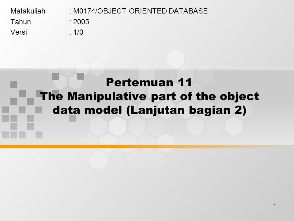 2 Learning Outcomes Pada akhir pertemuan ini, diharapkan mahasiswa akan mampu : Mahasiswa dapat Menjelaskan proses manipulasi object data model dan operator-operator yang digunakan dalam manipulasi tersebut (C2)