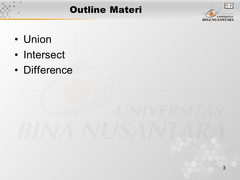 3 Outline Materi Union Intersect Difference