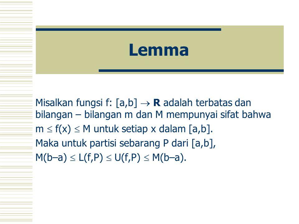 Lemma Misalkan fungsi f: [a,b]  R adalah terbatas dan bilangan – bilangan m dan M mempunyai sifat bahwa m  f(x)  M untuk setiap x dalam [a,b].