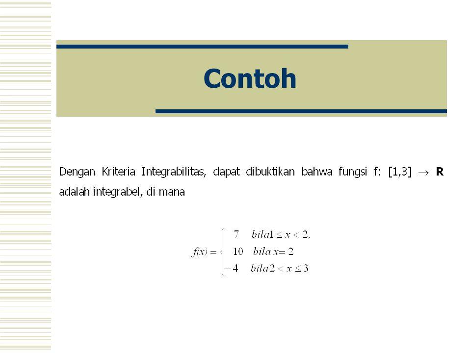 Teorema (Kriteria Integrabilitas) Misalkan fungsi f: [a,b]  R adalah terbatas. Maka fungsi f: [a,b]  R adalah integrabel bila dan hanya bila untuk s
