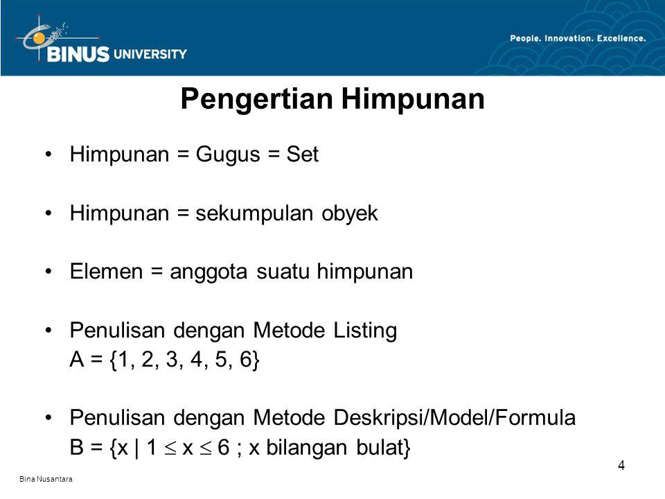 Bina Nusantara Himpunan = Gugus = Set Himpunan = sekumpulan obyek Elemen = anggota suatu himpunan Penulisan dengan Metode Listing A = {1, 2, 3, 4, 5,