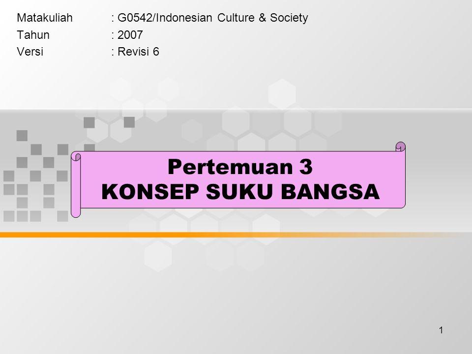 1 Pertemuan 3 KONSEP SUKU BANGSA Matakuliah: G0542/Indonesian Culture & Society Tahun: 2007 Versi: Revisi 6