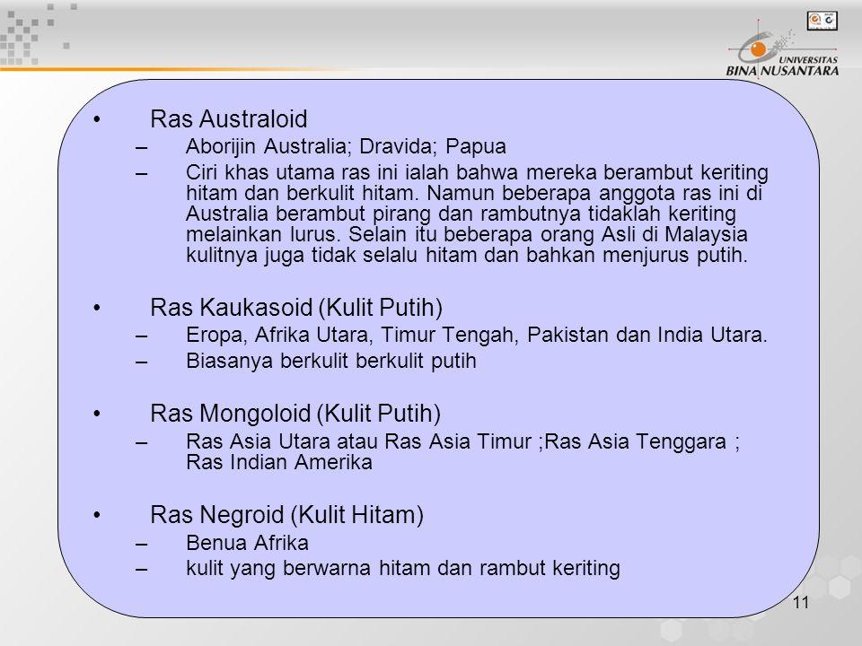 11 Ras Australoid –Aborijin Australia; Dravida; Papua –Ciri khas utama ras ini ialah bahwa mereka berambut keriting hitam dan berkulit hitam. Namun be